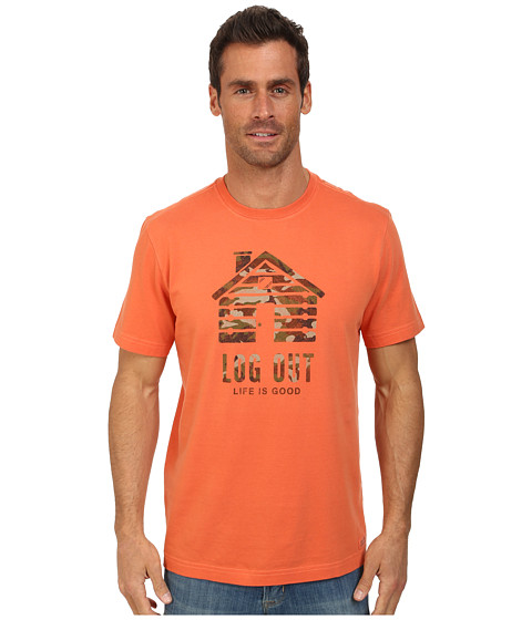 Life is good - Camo Log Out Crusher Tee (Spicy Orange) Men's T Shirt