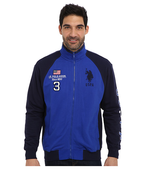 U.S. POLO ASSN. - Long Sleeve French Terry Full Zip Track Jacket (Cobalt Blue) Men