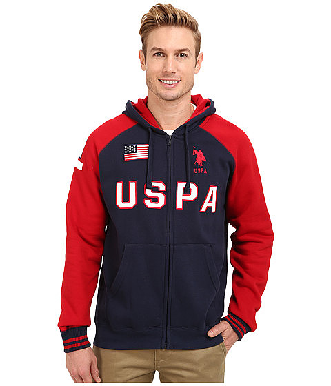 U.S. POLO ASSN. - Varsity Style Raglan Fleece Hooded Sweat Jacket (Classic Navy) Men
