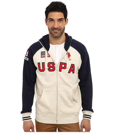 U.S. POLO ASSN. - Varsity Style Raglan Fleece Hooded Sweat Jacket (Oatmeal Heather) Men's Sweatshirt