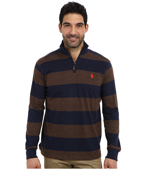 U.S. POLO ASSN. - Striped Rib Mock Neck 1/4 Zip Pullover (Brown Heather) Men's Long Sleeve Pullover