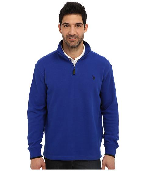 U.S. POLO ASSN. - Mock Neck 1/4 Zip Long Sleeve Rib Pullover (Cobalt Blue) Men