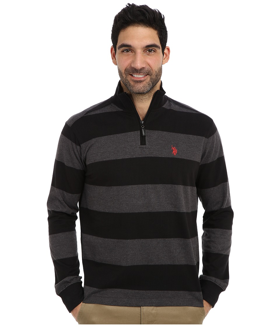 U.S. POLO ASSN. - Striped Rib Mock Neck 1/4 Zip Pullover (Black) Men's Long Sleeve Pullover