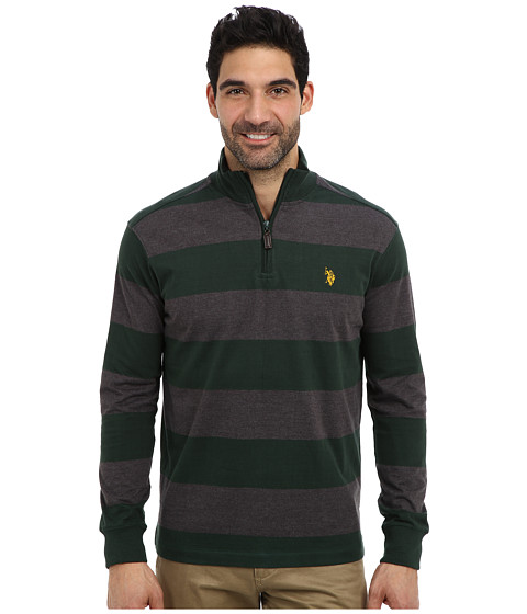 U.S. POLO ASSN. - Striped Rib Mock Neck 1/4 Zip Pullover (Park Green) Men's Long Sleeve Pullover