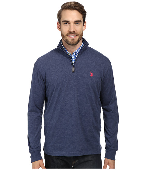 U.S. POLO ASSN. - Sueded Jersey 1/4 Zip Mock Neck Pullover (Midnight Heather) Men
