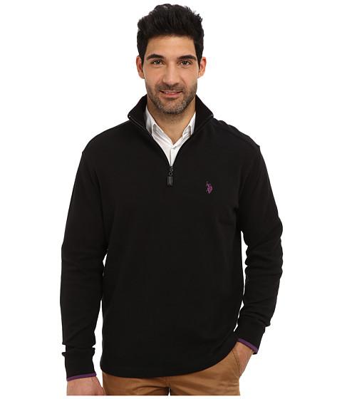 U.S. POLO ASSN. - Mock Neck 1/4 Zip Long Sleeve Rib Pullover (Black) Men