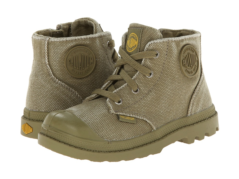 Palladium Kids - Pampa Hi Zipper (Toddler) (Sage/Old Gold) Boys Shoes