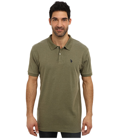 U.S. POLO ASSN. - Solid Interlock Short Sleeve Polo (Olive Green Heather) Men's Short Sleeve Pullover