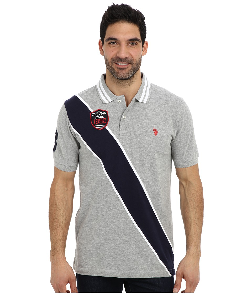 U.S. POLO ASSN. Diagonal Stripes Short Sleeve Pique Polo Heather Gray Mens Short Sleeve Pullover