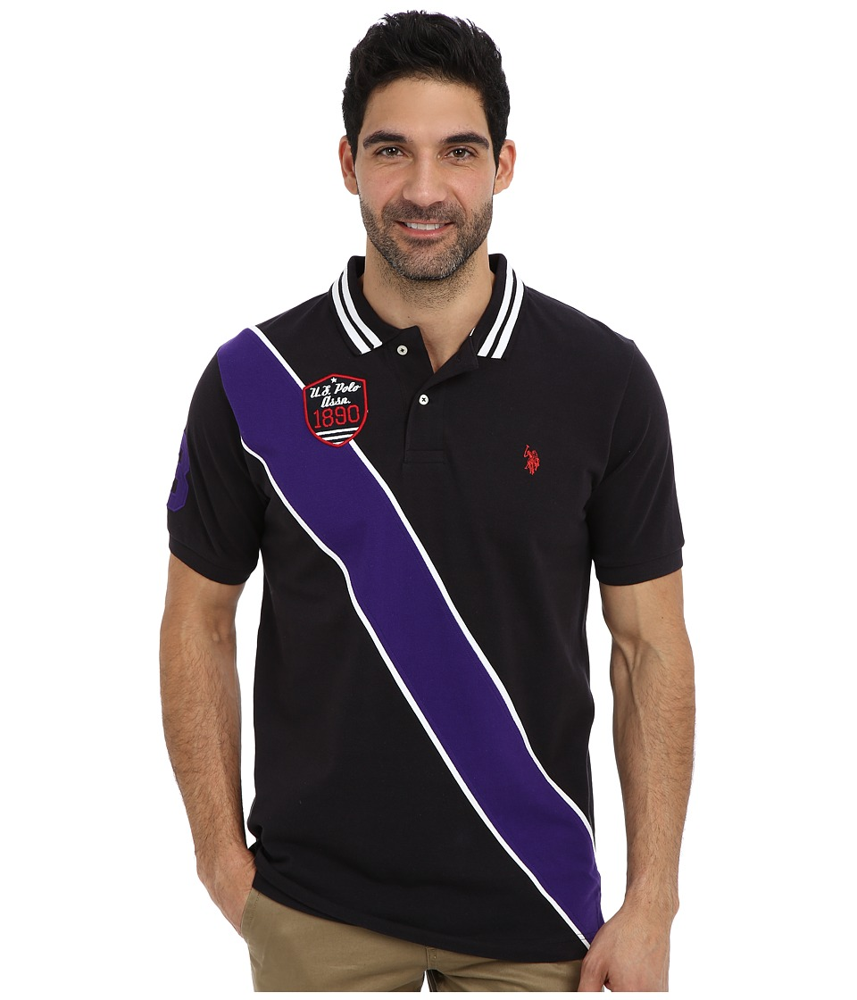 U.S. POLO ASSN. - Diagonal Stripes Short Sleeve Pique Polo (Black) Men's Short Sleeve Pullover