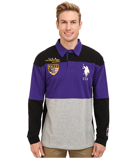 U.S. POLO ASSN. - Jersey Color Block Rugby Polo (Dark Violet) Men's Long Sleeve Pullover