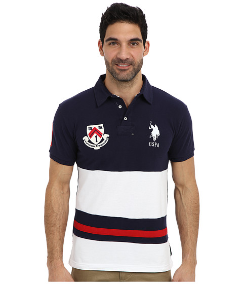 U.S. POLO ASSN. - Color Block Slim Fit Number 1 Applique Logo Patch Pique Polo (Classic Navy) Men's Short Sleeve Pullover