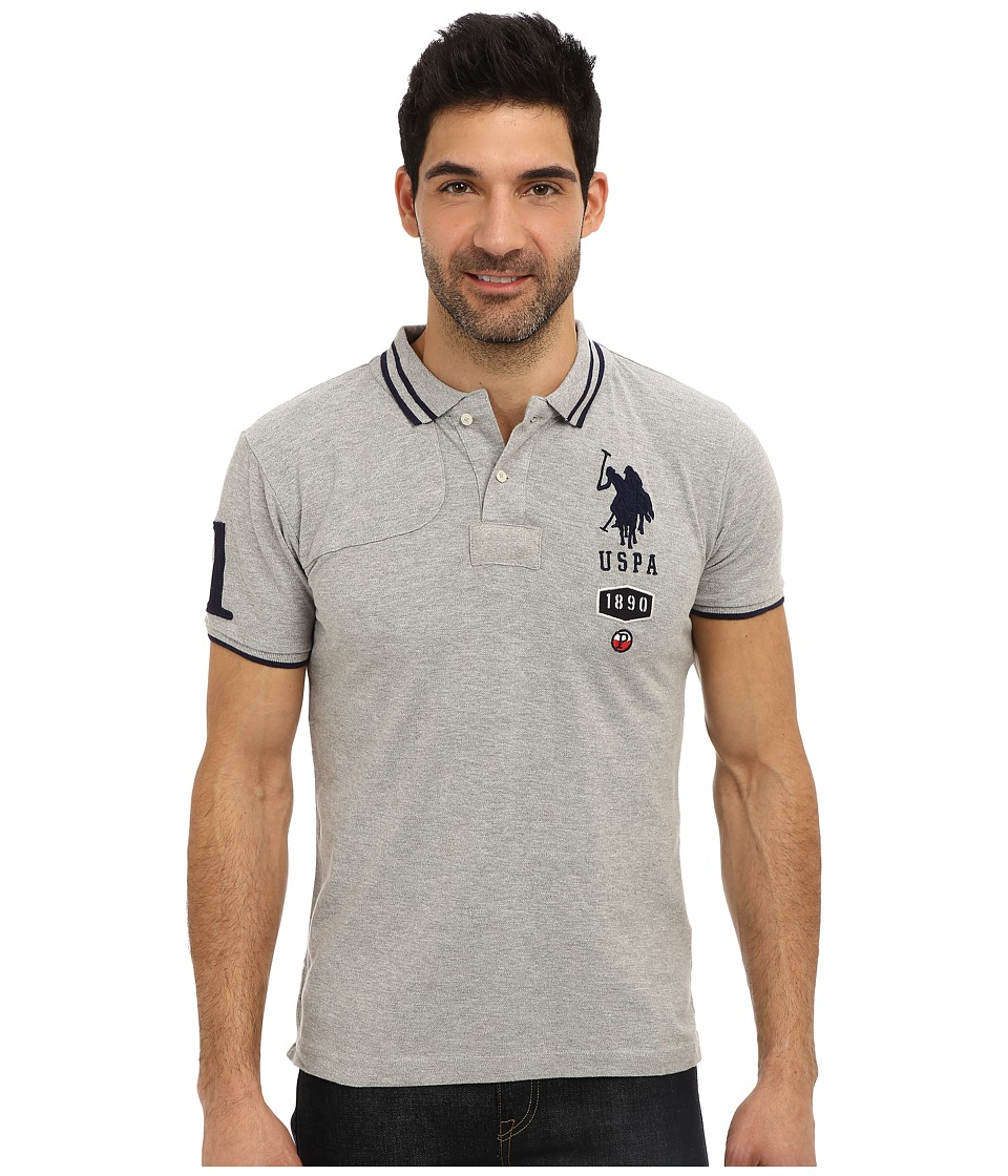 U.S. POLO ASSN. - Short Sleeve Slim Fit Number 1 Applique and Quilt Detail Polo (Heather Gray) Men's Short Sleeve Pullover