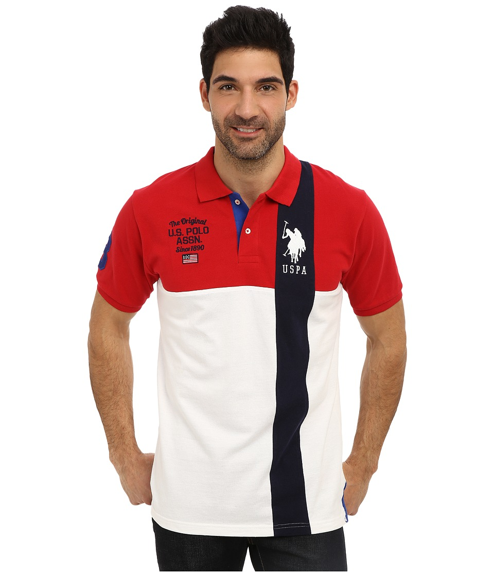 U.S. POLO ASSN. - Short Sleeve Cotton Pique Color Block Polo (Engine Red) Men's Short Sleeve Pullover