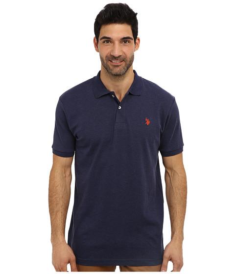 U.S. POLO ASSN. - Solid Interlock Short Sleeve Polo (Midnight Heather) Men