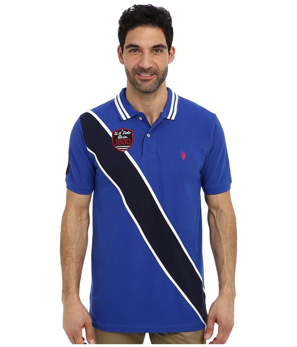 U.S. POLO ASSN. - Diagonal Stripes Short Sleeve Pique Polo (Cobalt Blue) Men's Short Sleeve Pullover