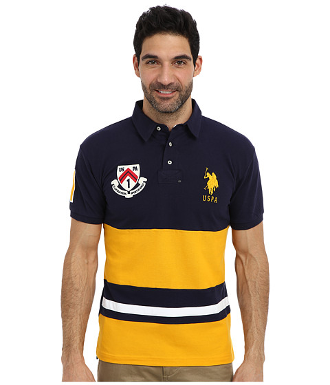 U.S. POLO ASSN. - Color Block Slim Fit Number 1 Applique Logo Patch Pique Polo (Marigold Yellow) Men