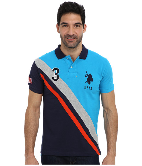 U.S. POLO ASSN. - Slim Fit USA Diagonal Stripe Pique Polo (Teal Blue) Men