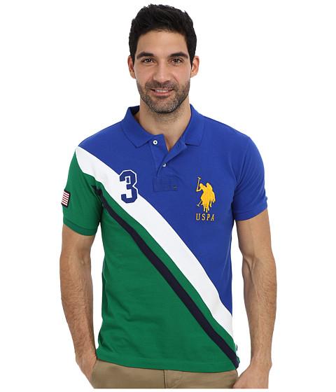 U.S. POLO ASSN. - Slim Fit USA Diagonal Stripe Pique Polo (Cobalt Blue) Men's Short Sleeve Pullover