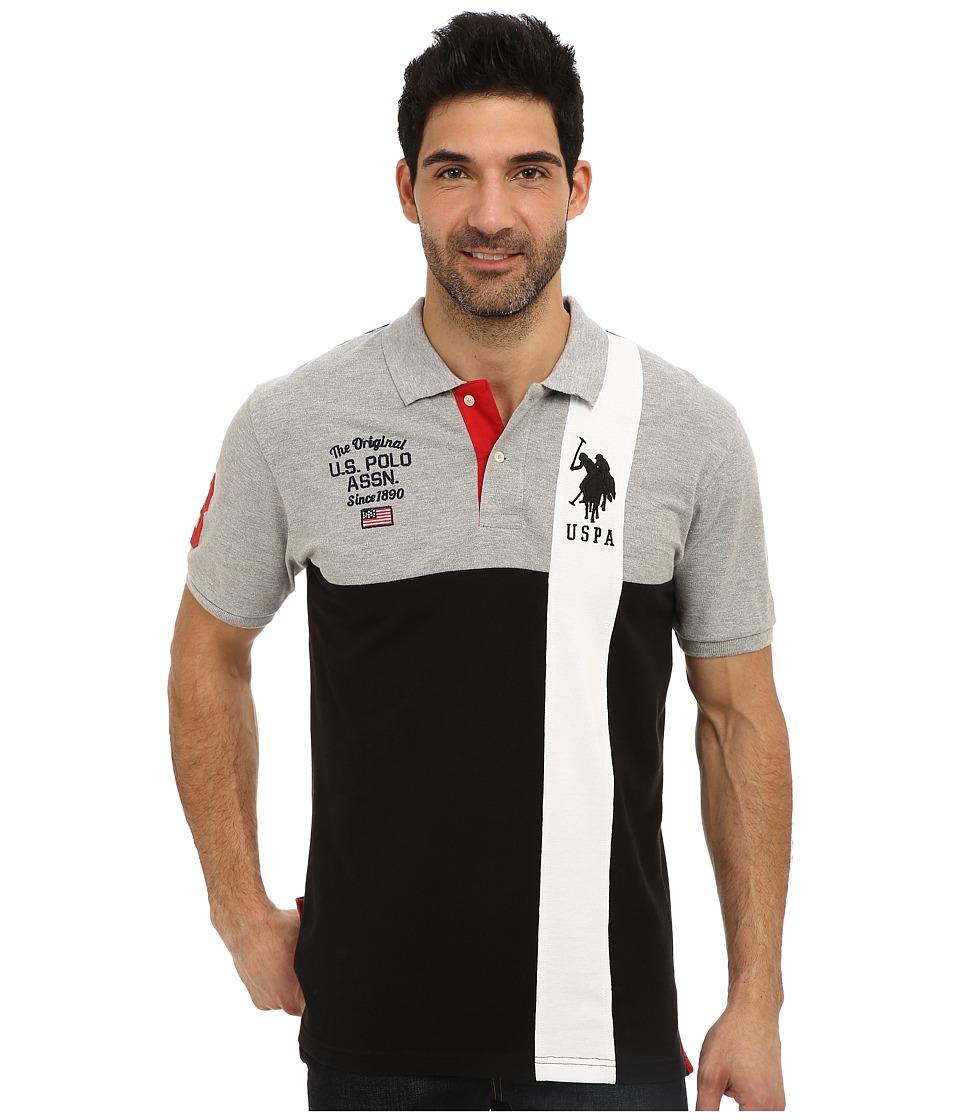 U.S. POLO ASSN. - Short Sleeve Cotton Pique Color Block Polo (Black) Men's Short Sleeve Pullover
