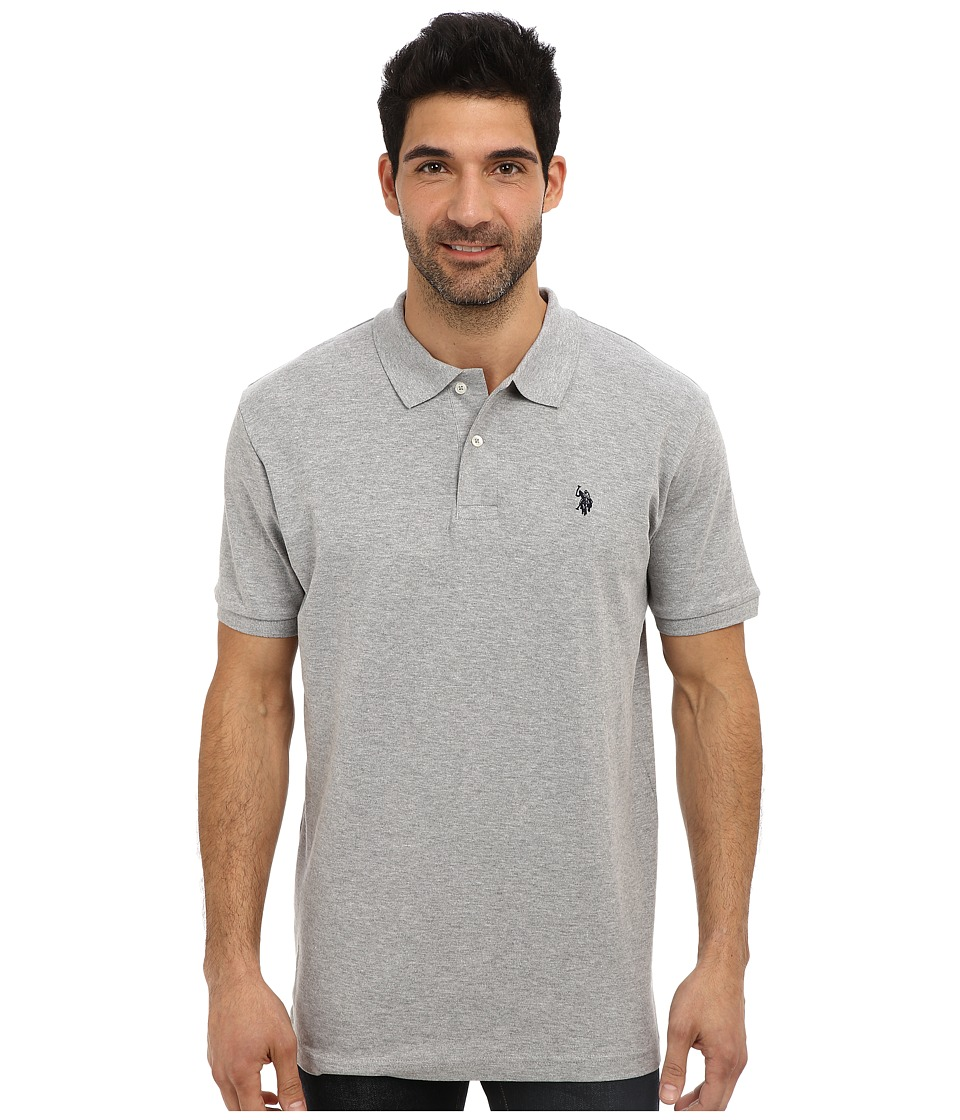 U.S. POLO ASSN. - Solid Interlock Short Sleeve Polo (Heather Gray/Classic Navy) Men's Short Sleeve Pullover