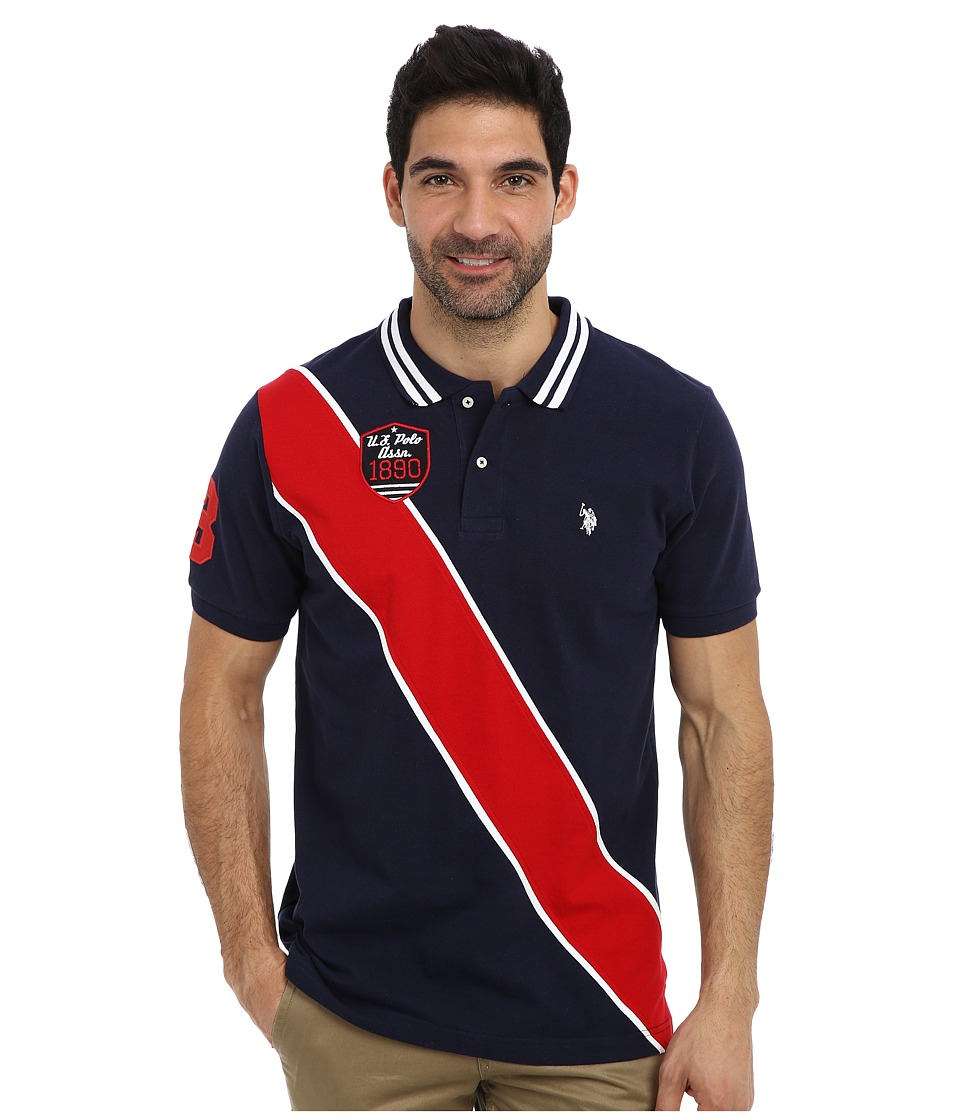 U.S. POLO ASSN. - Diagonal Stripes Short Sleeve Pique Polo (Classic Navy) Men's Short Sleeve Pullover