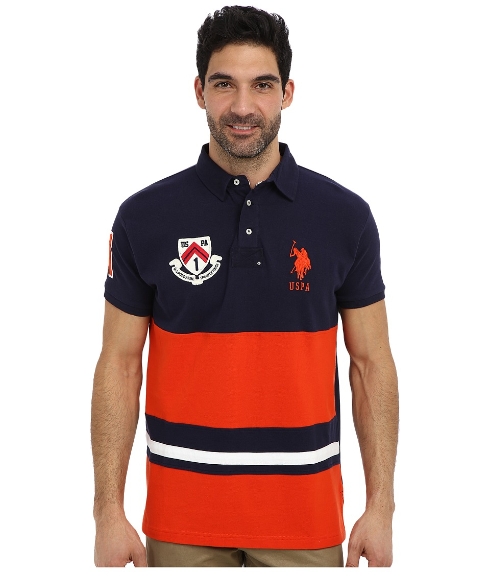 U.S. POLO ASSN. - Color Block Slim Fit Number 1 Applique Logo Patch Pique Polo (Harvest Orange) Men's Short Sleeve Pullover