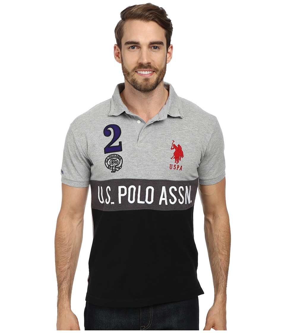 U.S. POLO ASSN. - Color Block Slim Fit Pique Polo w/ Number 2 Appliques Front and Back (Heather Gray) Men's Short Sleeve Pullover