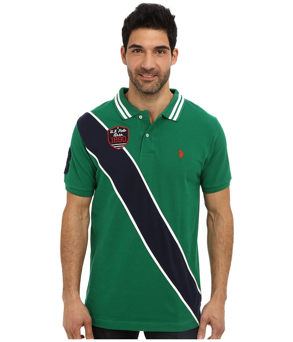 U.S. POLO ASSN. - Diagonal Stripes Short Sleeve Pique Polo (Hiking Green) Men's Short Sleeve Pullover
