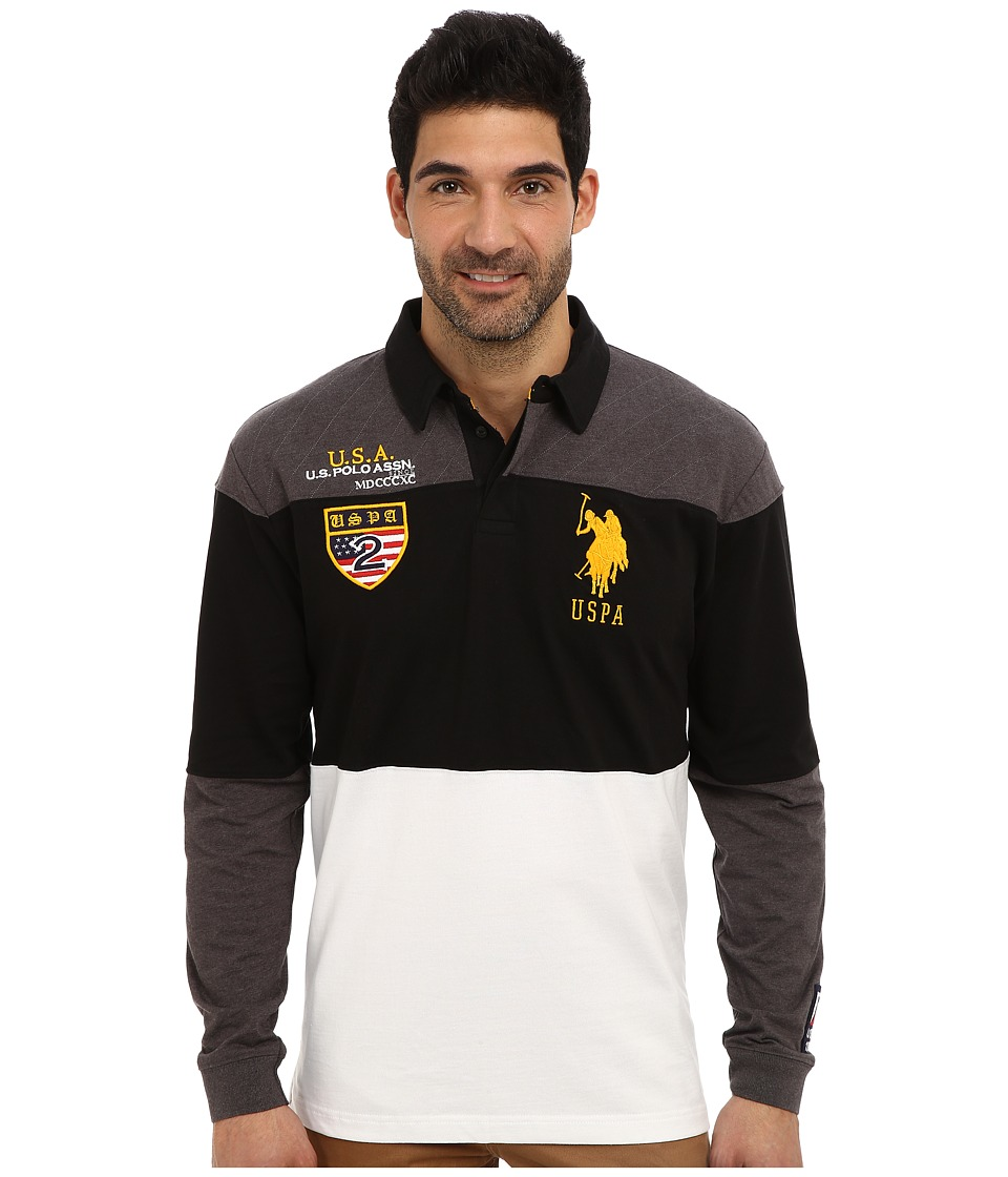 U.S. POLO ASSN. - Jersey Color Block Rugby Polo (Heather Dark Gray) Men's Long Sleeve Pullover