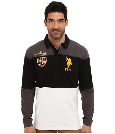 U.S. POLO ASSN. - Jersey Color Block Rugby Polo (Heather Dark Gray) Men's Long Sleeve Pullover