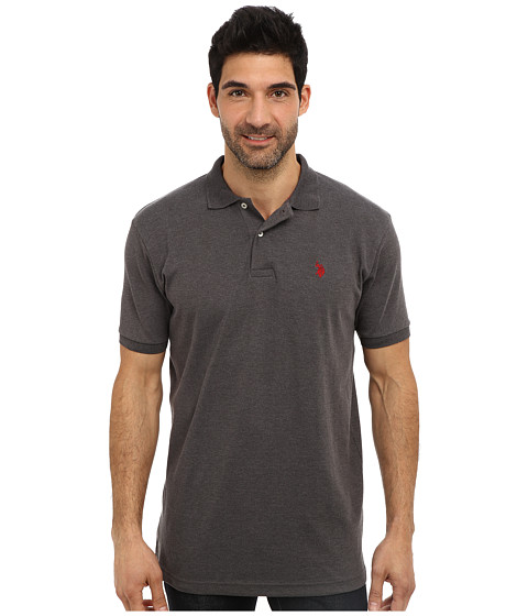 U.S. POLO ASSN. - Solid Interlock Short Sleeve Polo (Dark Grey Heather/Apple Cinnamon) Men