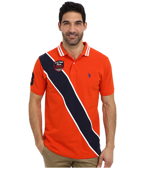 U.S. POLO ASSN. - Diagonal Stripes Short Sleeve Pique Polo (Harvest Orange) Men