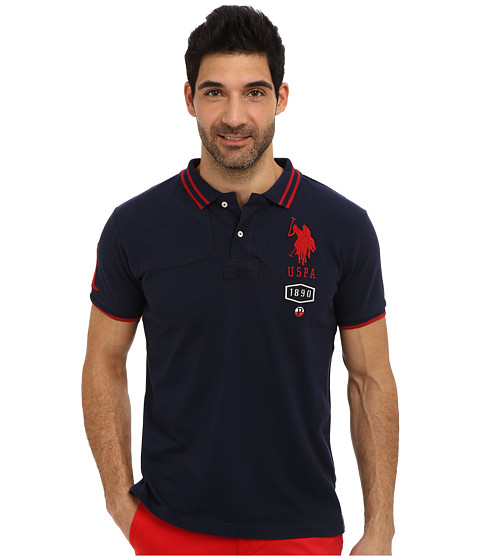 U.S. POLO ASSN. - Short Sleeve Slim Fit Number 1 Applique and Quilt Detail Polo (Classic Navy) Men