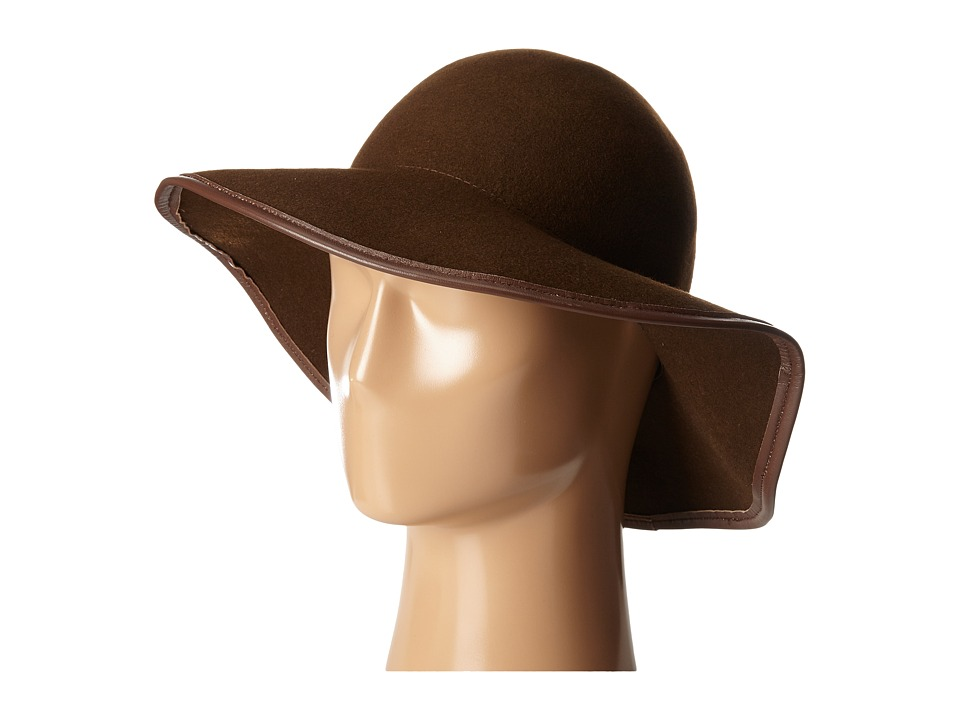 Hat Attack - Wool Felt Round Crown w/ Leather Bound Edge (Brown/Brown) Traditional Hats