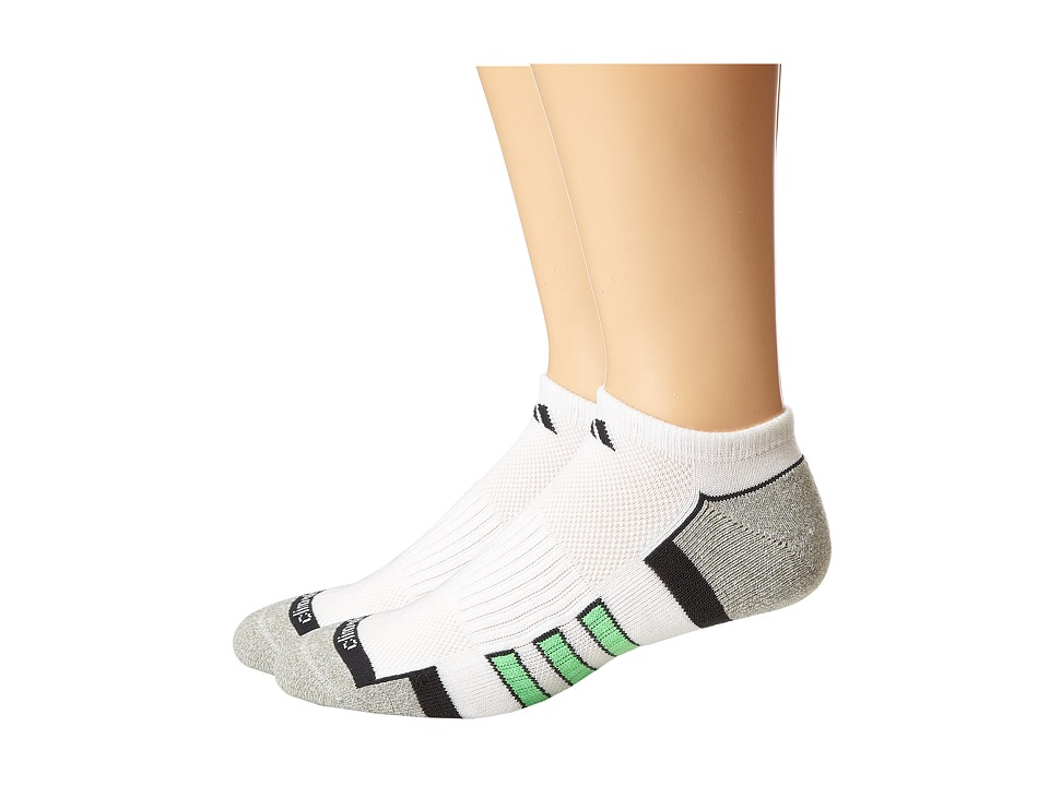 adidas - Climalite II 2-Pair No Show Sock (White/Marled Aluminum 2/Dark Grey/Flash Green) Men's No Show Socks Shoes