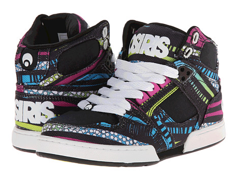 Osiris Kids - NYC 83 SLM (Little Kid/Big Kid) (Black/80's/Mod) Girl's Shoes