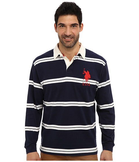 U.S. POLO ASSN. - Striped Long Sleeve Jersey Polo w/ White Collar (Classic Navy) Men's Long Sleeve Pullover