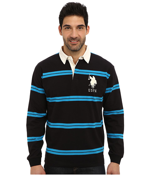U.S. POLO ASSN. - Striped Long Sleeve Jersey Polo w/ White Collar (Black) Men's Long Sleeve Pullover