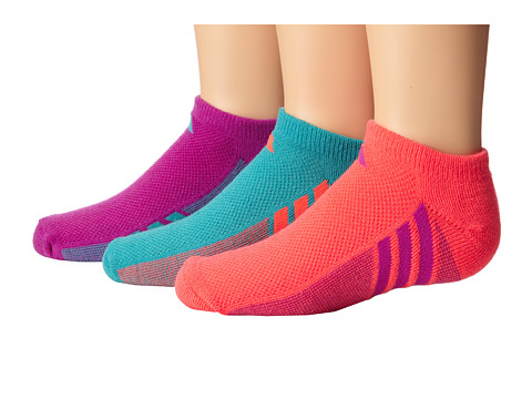 adidas Kids - Cushion 3-Pack No Show (Little Kid/Big Kid/Adult) (Vivid Mint/Flash Red/Flash Red/Flash Pink/Flash Pink/Vivid Mint) Girls Shoes