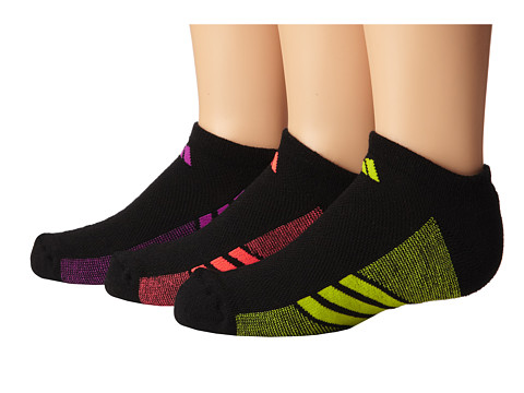 adidas Kids - Cushion 3-Pack No Show (Little Kid/Big Kid/Adult) (Black/Flash Pink/Semi Solar Yellow/Flash Red) Girls Shoes