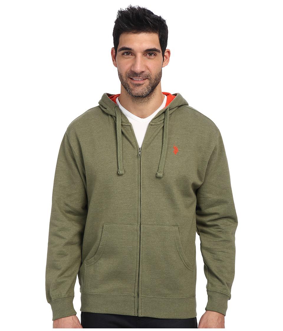 U.S. POLO ASSN. - Full Zip Fleece Hoodie (Olive Green Heather) Men's Sweatshirt