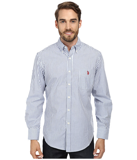 U.S. POLO ASSN. - Long Sleeve Button-Down Striped Shirt w/ Logo on Pocket (Surf Spring) Men