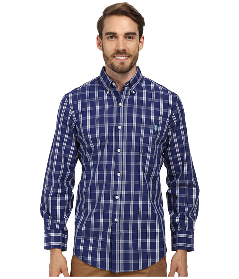 U.S. POLO ASSN. - Long Sleeve Button Down Plaid Shirt w/ Logo on Pocket (Marina Blue) Men