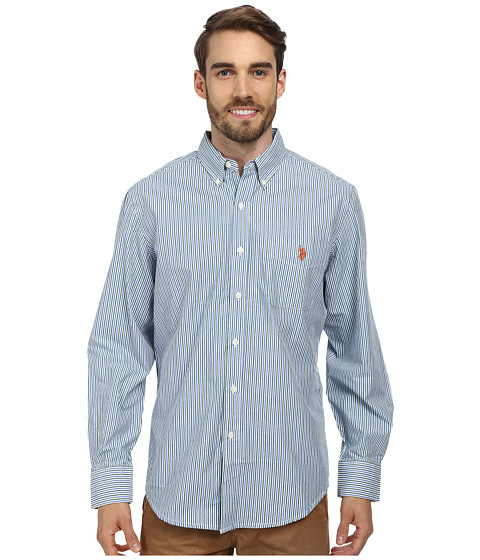 U.S. POLO ASSN. - Long Sleeve Button-Down Striped Shirt w/ Logo on Pocket (Hiking Green) Men