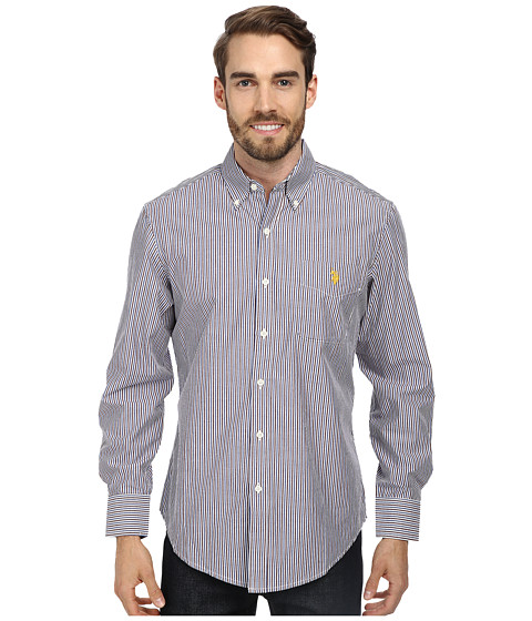 U.S. POLO ASSN. - Long Sleeve Button-Down Striped Shirt w/ Logo on Pocket (Burgundy) Men