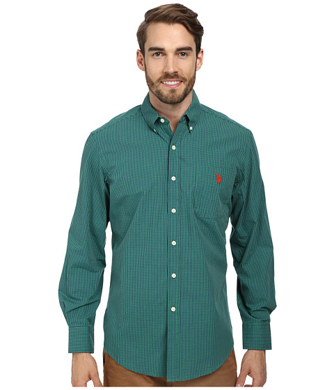 U.S. POLO ASSN. - Long Sleeve Button-Down Mini Check Shirt w/ Logo on Pocket (Clover Green/Marina) Men