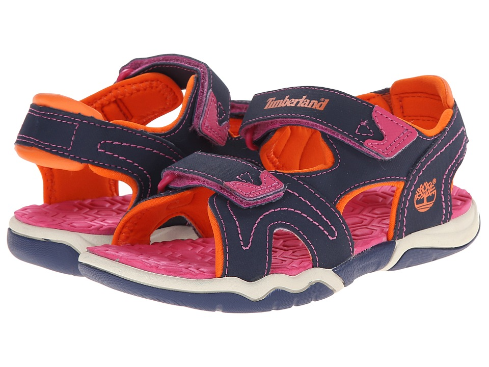 Timberland Kids - Adventure Seeker 2-Strap Sandal (Little Kid) (Navy/Pink/Orange) Girls Shoes