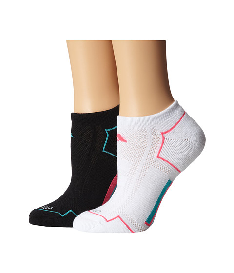 adidas - Climacool 2-Pair No Show Sock (Black/Vivid Mint/Solar Pink/White) Women