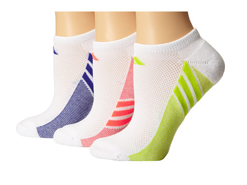 adidas - Climacool Superlite 3-Pair No Show Sock (White/Night Flash/White/Semi Solar Yellow/White/Flash Red) Women's No Show Socks Shoes